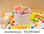 Small photo of ice cream with berries, ice roll