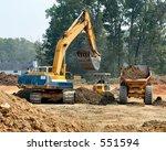 front end loader loading dump... | Shutterstock . vector #551594