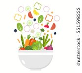 vegetable bowl. slices of... | Shutterstock .eps vector #551598223
