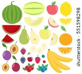 set of fresh healthy fruits... | Shutterstock .eps vector #551598298