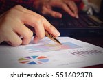 data analyzing with laptop and... | Shutterstock . vector #551602378