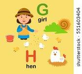 alphabet letter g girl h hen... | Shutterstock .eps vector #551603404
