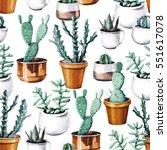 watercolor cactus tropical... | Shutterstock . vector #551617078