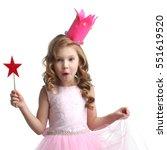 little fairy girl in pink dress ... | Shutterstock . vector #551619520