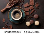 coffee cup  beans  chocolate... | Shutterstock . vector #551620288