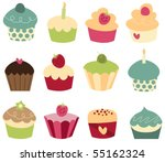 set of 12 cute cupcakes. | Shutterstock .eps vector #55162324