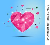vector polygon pink hearts on a ... | Shutterstock .eps vector #551627578