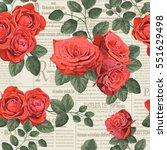 seamless vintage floral ... | Shutterstock .eps vector #551629498