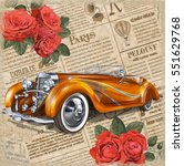 retro car on vintage newspaper... | Shutterstock .eps vector #551629768