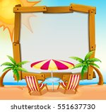 frame template with beach in... | Shutterstock .eps vector #551637730