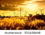 eco power  wind turbines at... | Shutterstock . vector #551638648