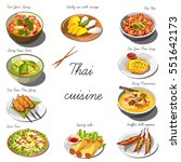 thai cuisine set. collection of ... | Shutterstock .eps vector #551642173