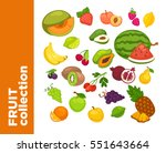 fresh fruits icons set.... | Shutterstock .eps vector #551643664