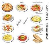 italian cuisine set. collection ... | Shutterstock .eps vector #551643844