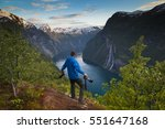 man with two cameras ready to... | Shutterstock . vector #551647168