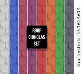 set of different color shingles ... | Shutterstock .eps vector #551654614