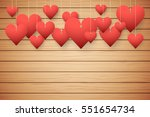 Wooden Background With Red...