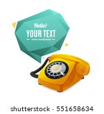 yellow rotary telephone with...
