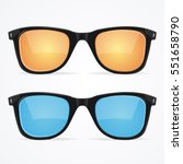 sunglasses set with colored... | Shutterstock .eps vector #551658790