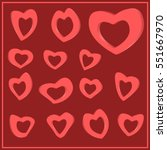 set of hearts for valentine s... | Shutterstock .eps vector #551667970