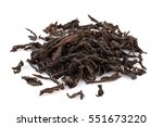 black dry tea leaves isolated... | Shutterstock . vector #551673220