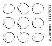 set hand drawn ovals  felt tip... | Shutterstock .eps vector #551675788