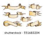 hand drawn ribbons vector... | Shutterstock .eps vector #551683204
