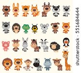 big set different funny animals.... | Shutterstock .eps vector #551684644