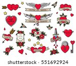 vector traditional tattoo... | Shutterstock .eps vector #551692924