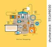 flat line modern corporate... | Shutterstock .eps vector #551698030