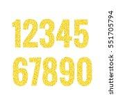 gold glitter alphabet numbers....   Shutterstock .eps vector #551705794