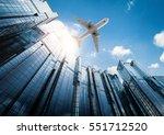 3d rendering airplane flying... | Shutterstock . vector #551712520