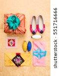 korean traditional gift box on... | Shutterstock . vector #551716666