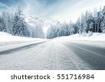Winter Road And Trees With Sno...