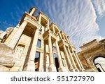 facade of ancient celsius... | Shutterstock . vector #551727970