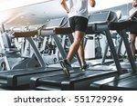 sportsman using jogging track...   Shutterstock . vector #551729296
