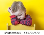 sad and unhappy child on small... | Shutterstock . vector #551730970