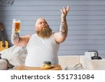 happy thick guy is grateful for ... | Shutterstock . vector #551731084