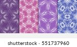 set of floral seamless pattern. ... | Shutterstock .eps vector #551737960