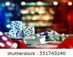 casino chips on table  | Shutterstock . vector #551743240