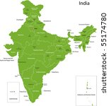 india map with states and... | Shutterstock .eps vector #55174780