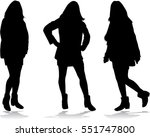 black silhouettes of women. | Shutterstock .eps vector #551747800
