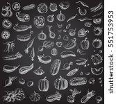set of various hand drawn... | Shutterstock .eps vector #551753953