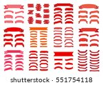 red ribbon banners set.... | Shutterstock . vector #551754118