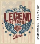 motorcycle. typography t shirt... | Shutterstock .eps vector #551759404