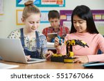 pupils in science lesson... | Shutterstock . vector #551767066
