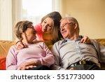portrait of grandparents with... | Shutterstock . vector #551773000