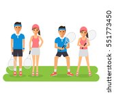 man and woman tennis sport... | Shutterstock .eps vector #551773450