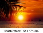 Sunset On Tropical Beach With...