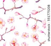 watercolor spring seamless... | Shutterstock . vector #551775208